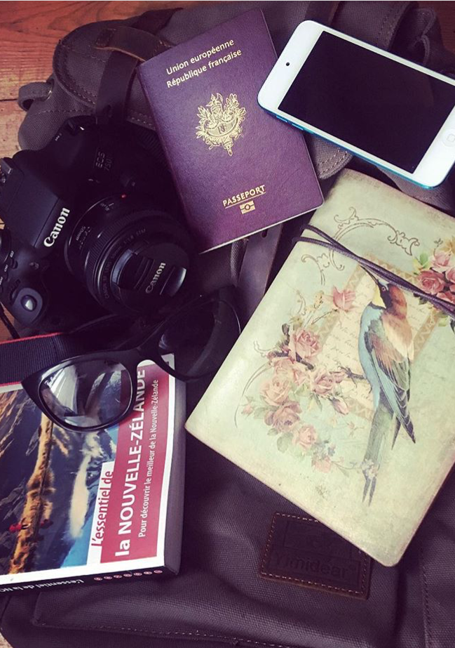 appareil photo reflex, passeport, guide touriqtique, sac