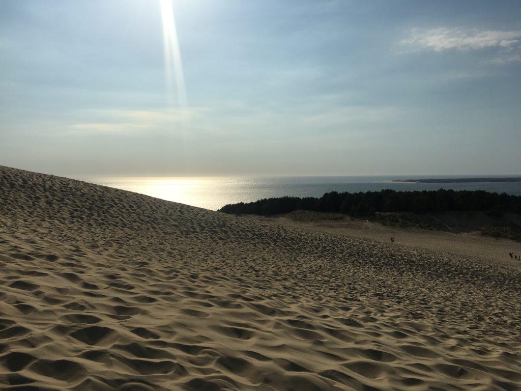 couché de soleil, dune du pyla, sable, océan, rétrospective